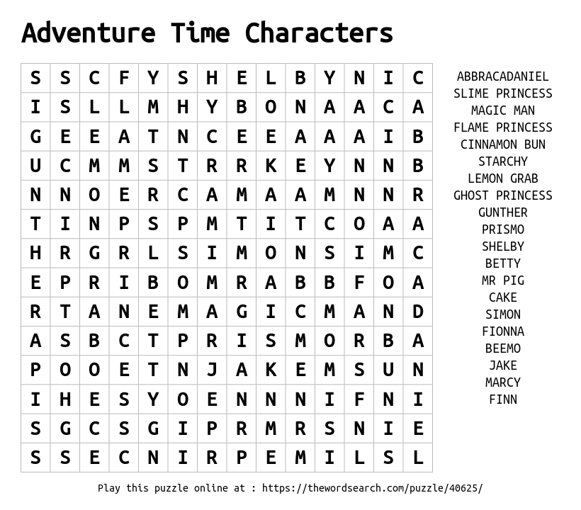Word Search on Adventure Time Characters