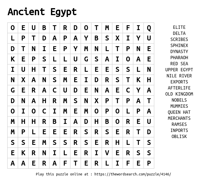 Ancient Egypt word search puzzle for kids | ancient egypt ...