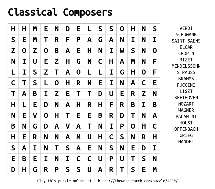 Word Search on Classical Composers