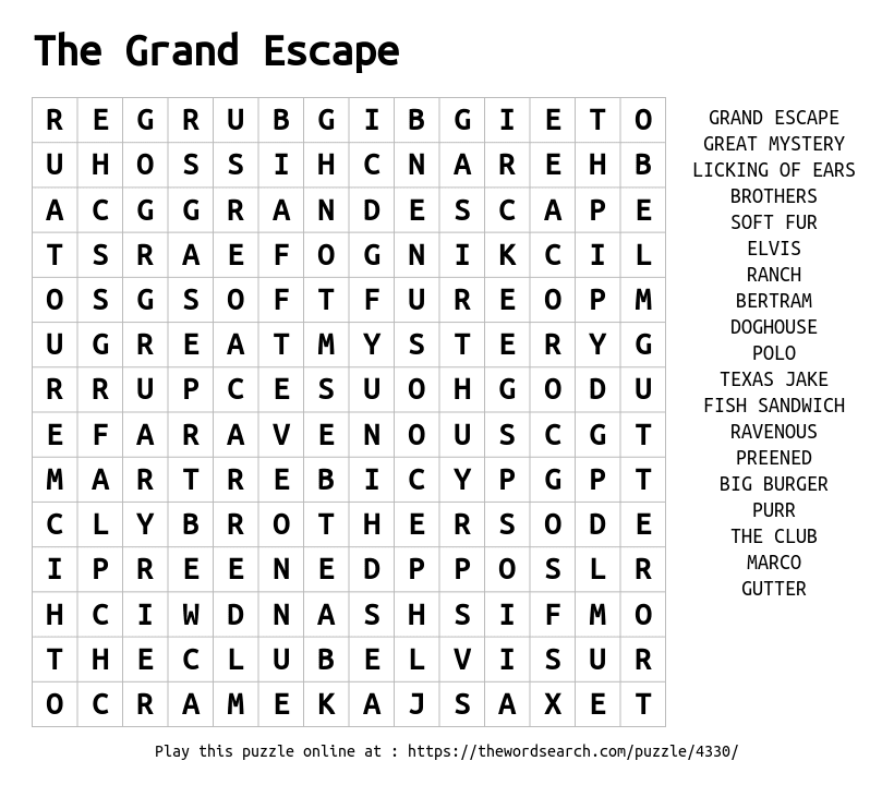 Word Search on The Grand Escape