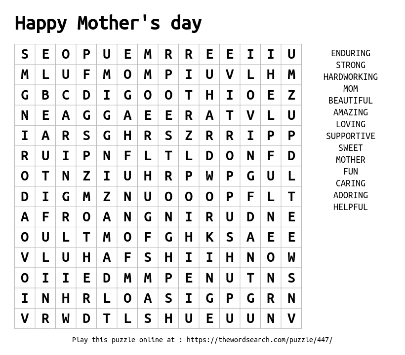 Word Search on Happy Mother's day