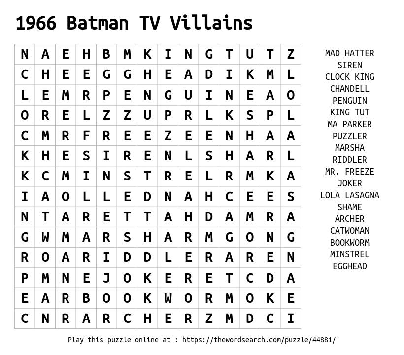 Word Search on 1966 Batman TV Villains