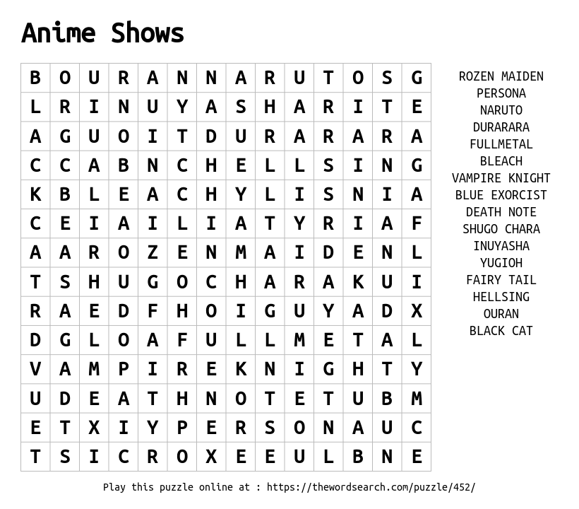 Anime Shows Word Search