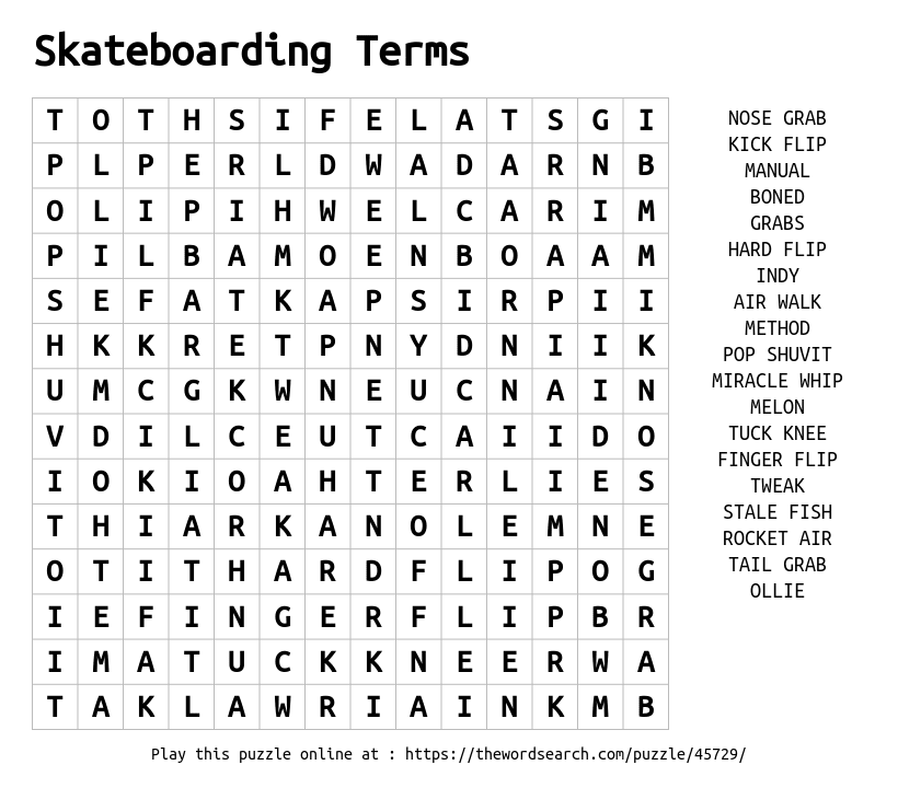 download word search on skateboarding terms