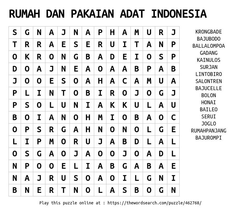 Rumah Dan Pakaian Adat Indonesia Word Search