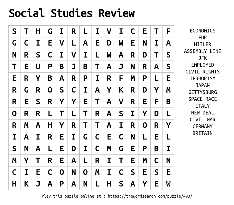 Social Studies Review Word Search