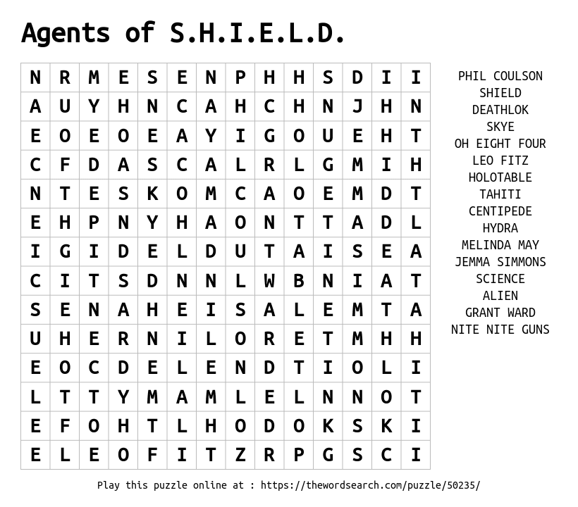 Word Search on Agents of S.H.I.E.L.D.