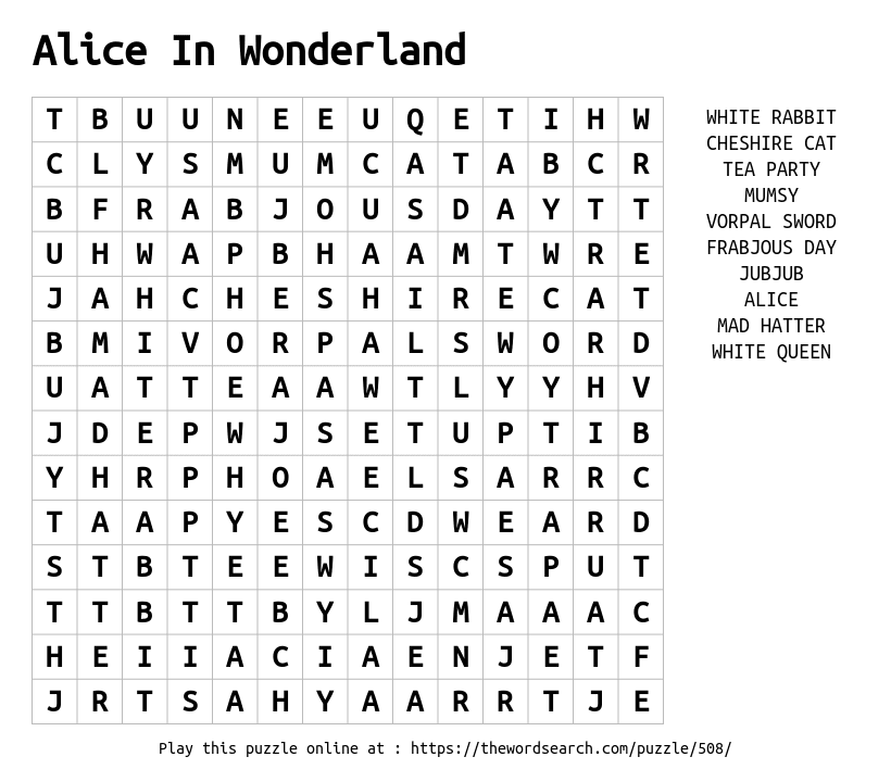 download word search on alice in wonderland