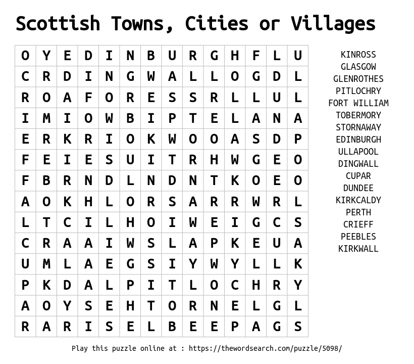 Download word search on scottish towns cities or villages for Is fishes a word
