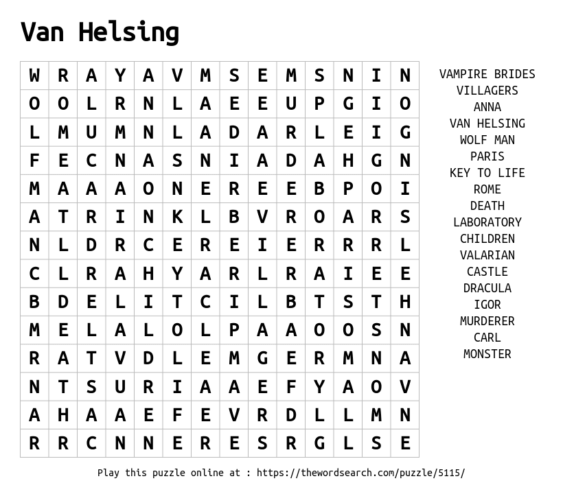 Word Search on Van Helsing