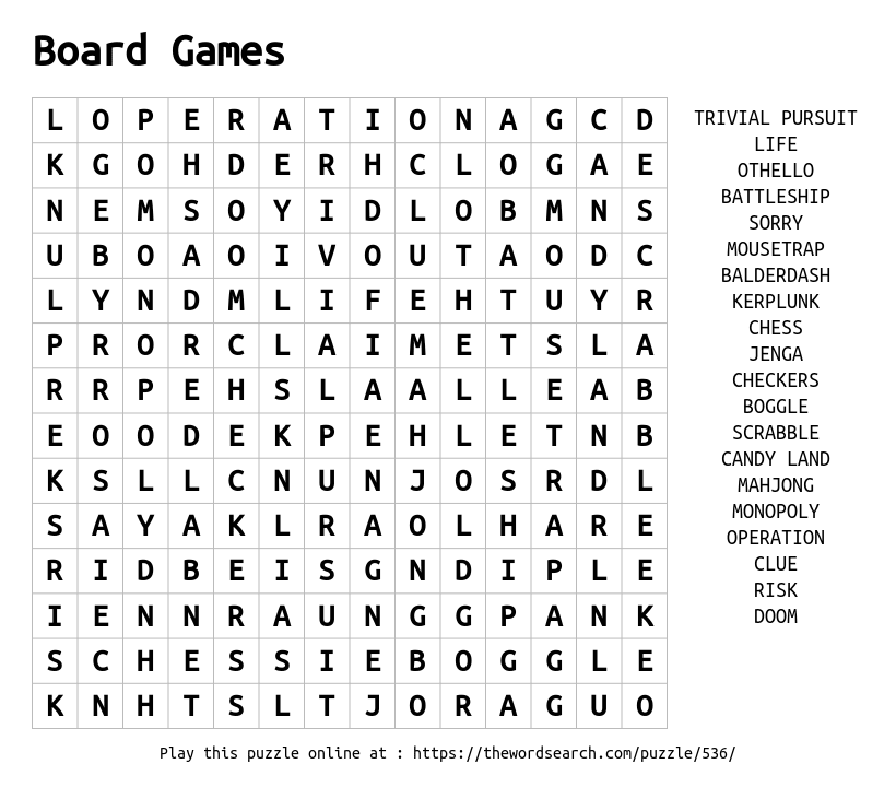 Word Search on Board Games
