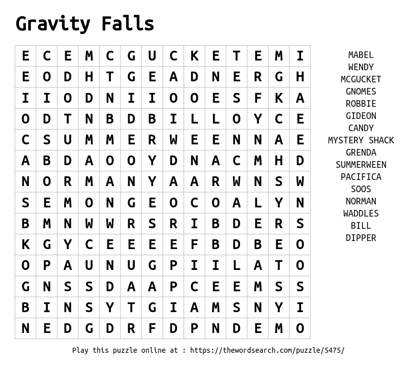 Word Search on Gravity Falls