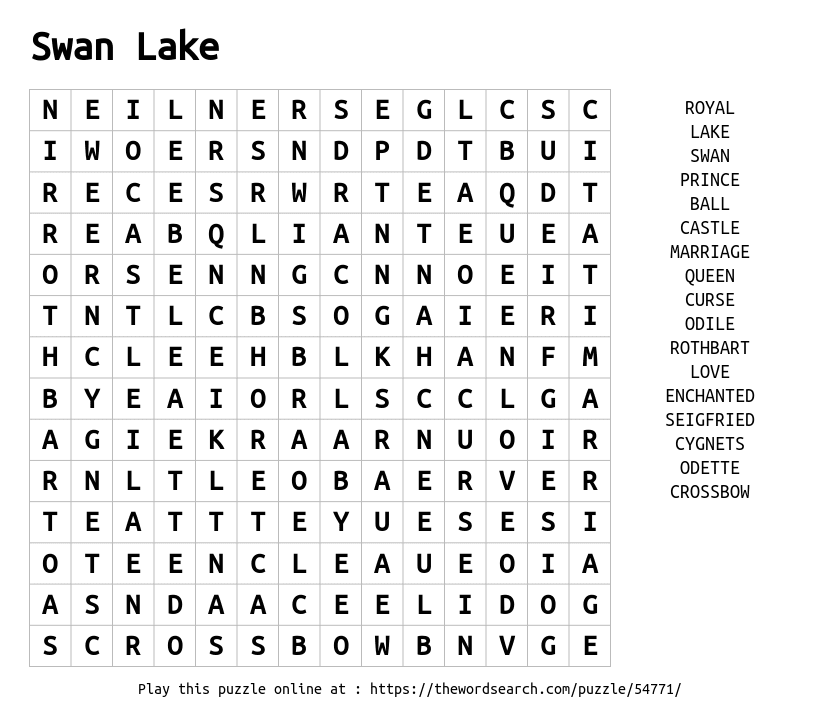 download word search on swan lake