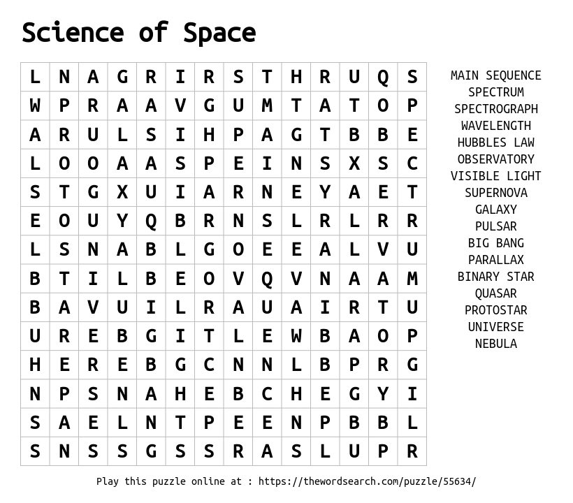 Word Search on Science of Space