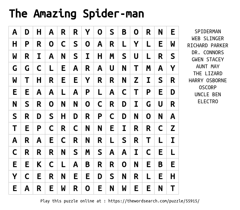 Word Search on The Amazing Spider-man