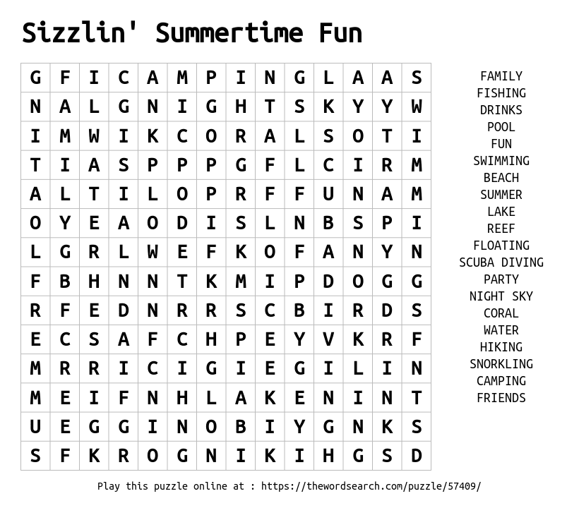 Sizzlin Summertime Fun Word Search