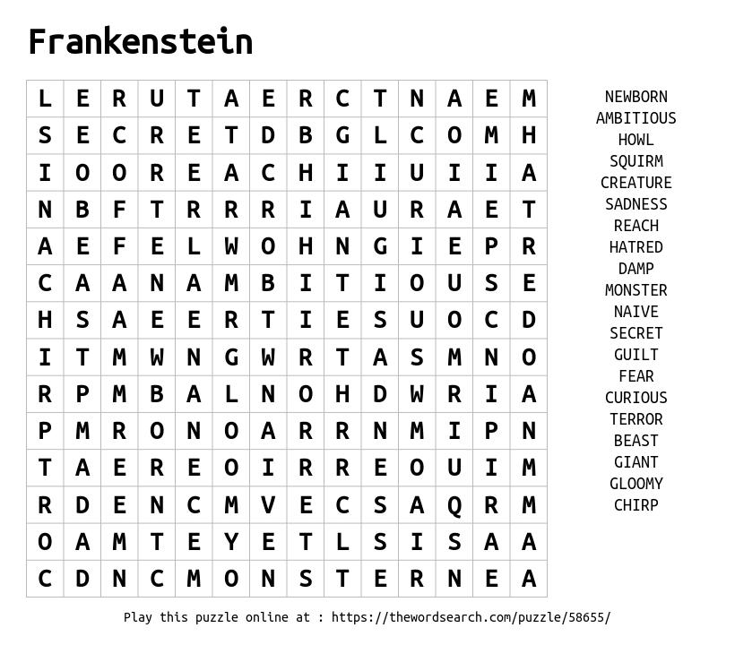 download word search on frankenstein