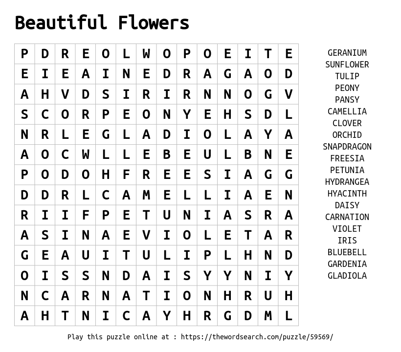 Beautiful Flowers Word Search