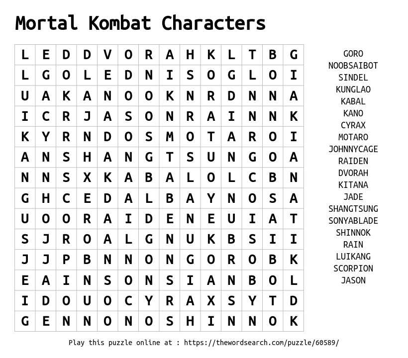 Word Search on Mortal Kombat Characters