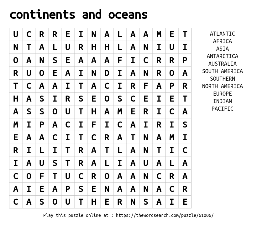 continents and oceans word search. Black Bedroom Furniture Sets. Home Design Ideas