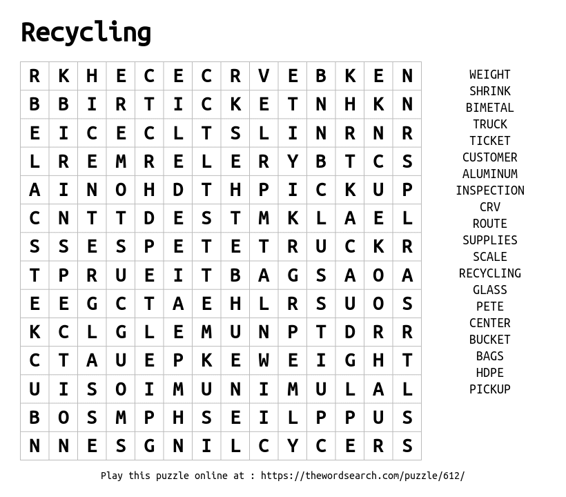 Recycling Word Search