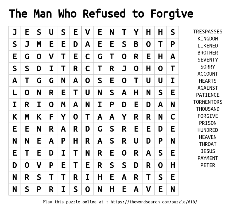 The Man Who Refused To Forgive Word Search