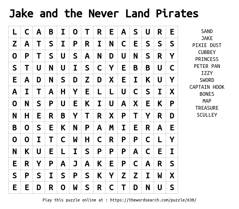 Word Search on Jake and the Never Land Pirates