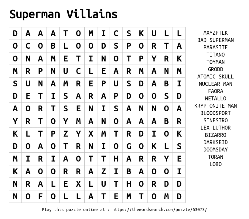 Word Search on Superman Villains