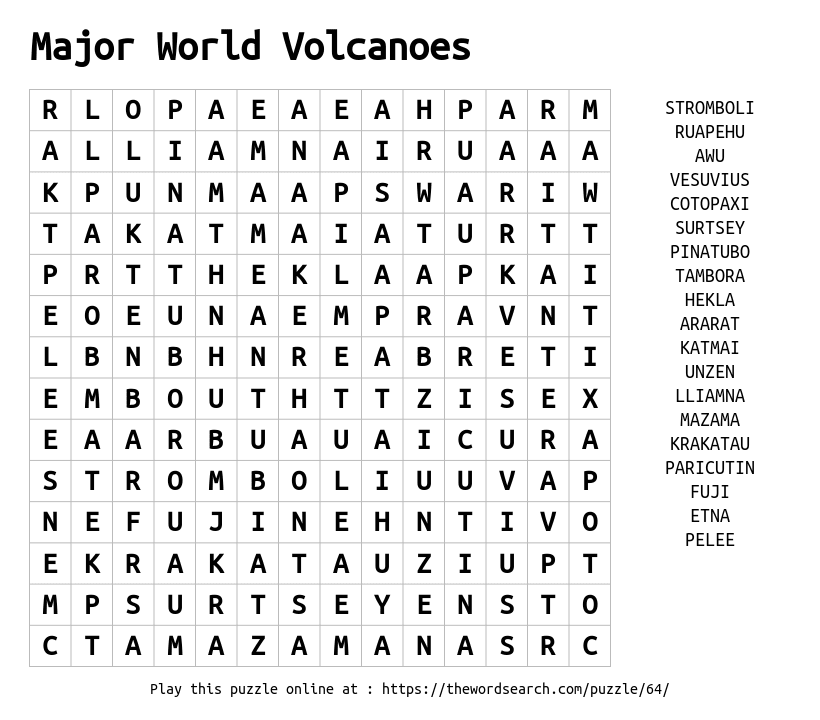 Word Search on Major World Volcanoes