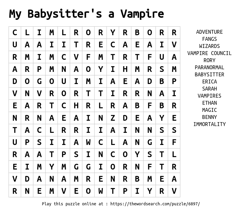 Download Word Search on My Babysitters a Vampire – Another Word for Babysitter