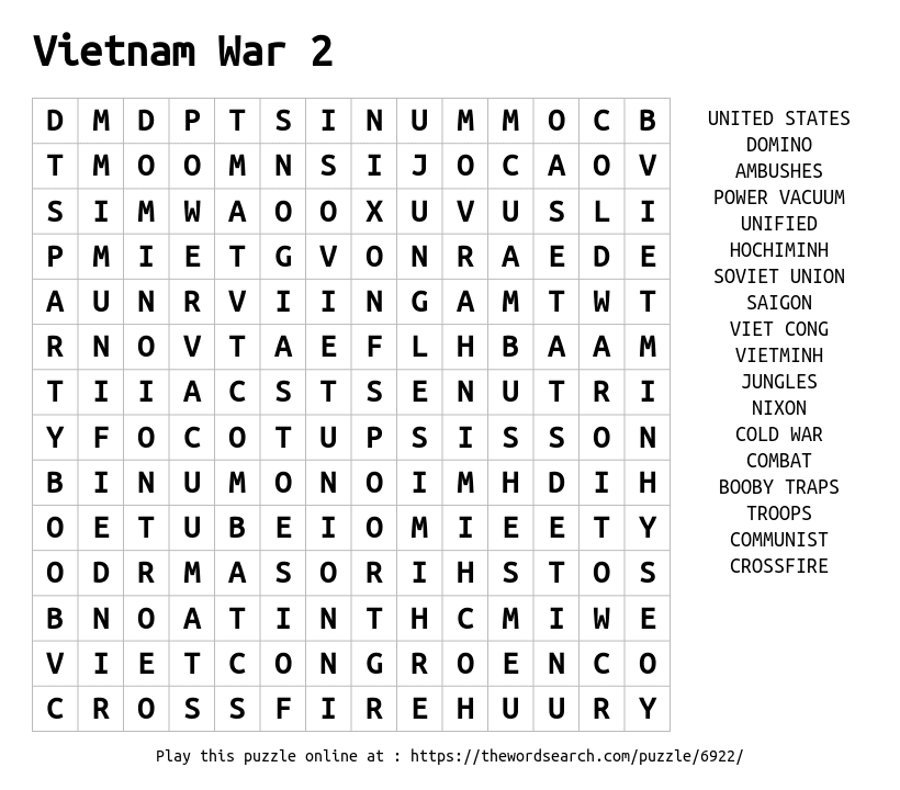 vietnam word search worksheets The Best and Most Comprehensive – Vietnam War Worksheet