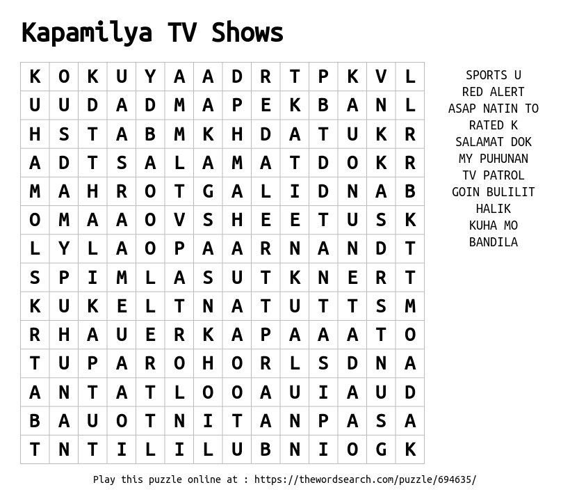 Word Search on Kapamilya TV Shows