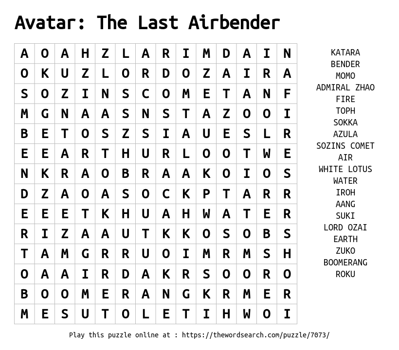 Word Search on Avatar: The Last Airbender