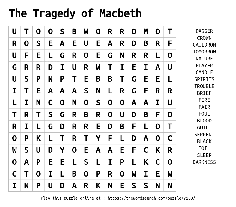 tragedy macbeth and word blood Bibliography: macbeth paper, use of blood april 2005 paper: the use of imagery and blood in shakespeare's play macbeth imagery is the use of symbols to convey an idea or to create a specific atmosphere for the audience.