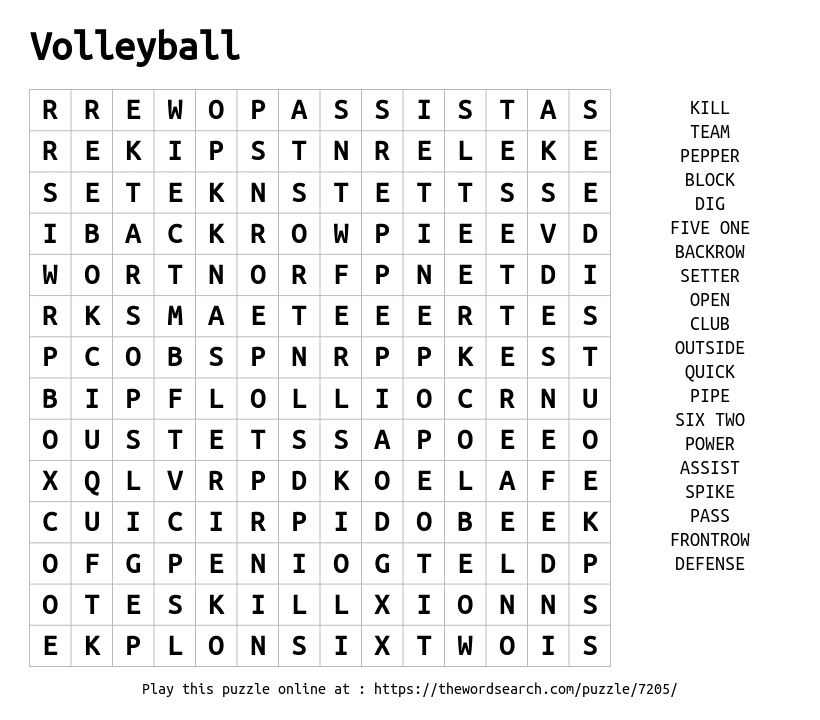 download word search on volleyball