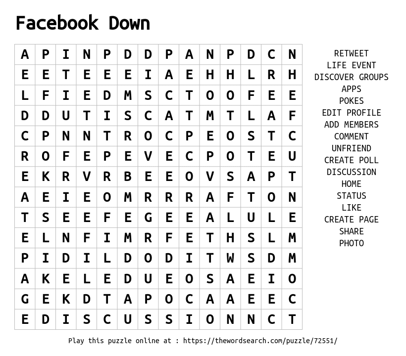 Download Word Search on Facebook Down