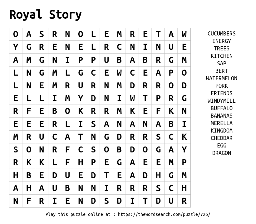 Word Search on Royal Story