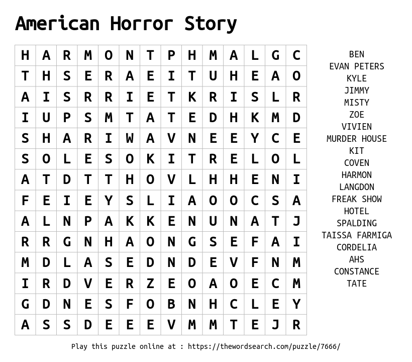 download word search on american horror story
