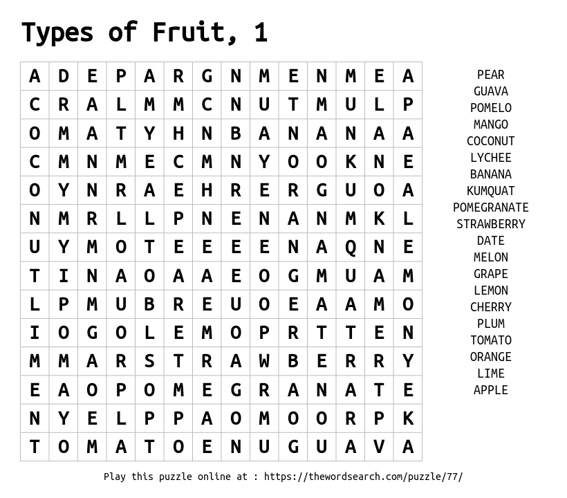 Word Search on Types of Fruit, 1