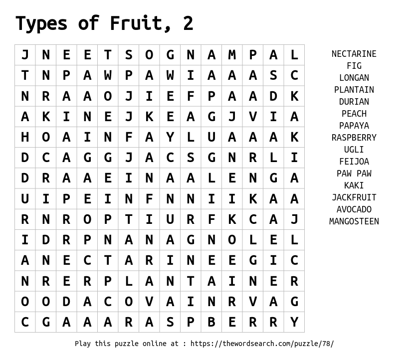 Word Search on Types of Fruit, 2