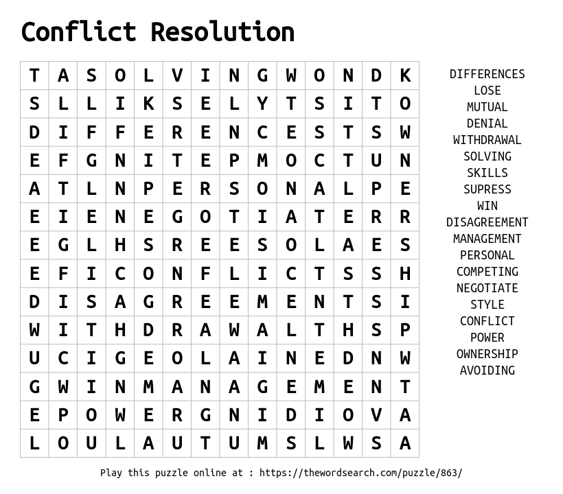Word Search on Conflict Resolution