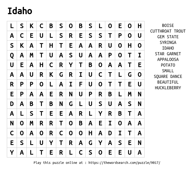 Word Search on Idaho
