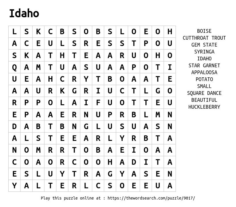 Word Search on Idaho