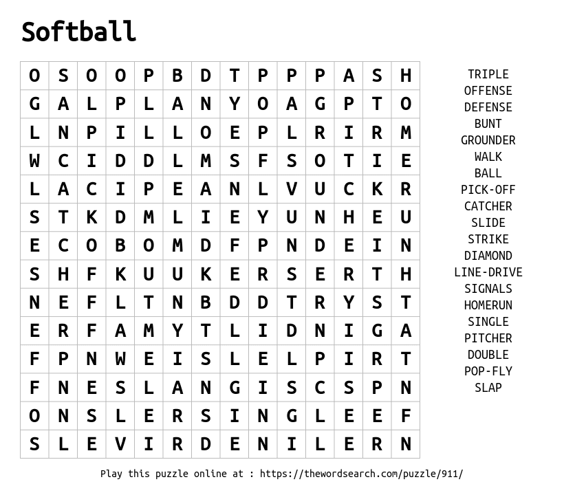Download Word Search on Softball