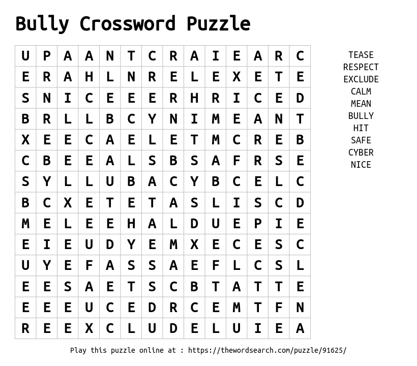 Download Word Search on Bully Crossword Puzzle