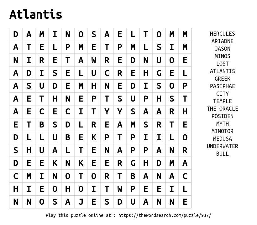 Word Search on Atlantis