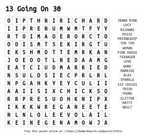 Word Search on 13 Going On 30