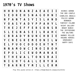 Word Search on 1970's TV Shows