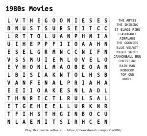 Word Search on 1980s Movies