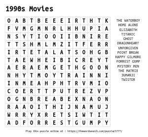 Word Search on 1990s Movies